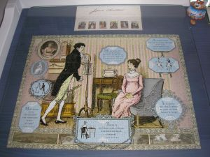Jane Austen puzzle and stamps on my desk.